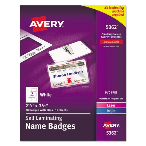 Self-Laminating Laser/Inkjet Printer Badges, 2 1/4 x 3 1/2, White, 30/Box. Picture 1