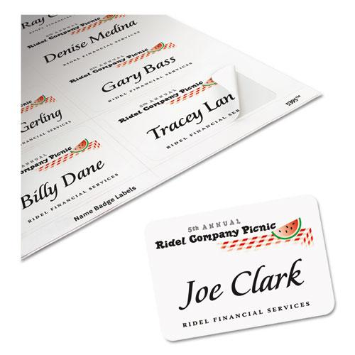 Flexible Adhesive Name Badge Labels, 3.38 x 2.33, White, 400/Box. Picture 3