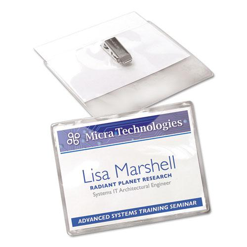Clip-Style Name Badge Holder with Laser/Inkjet Insert, Top Load, 4 x 3, White, 40/Box. Picture 3