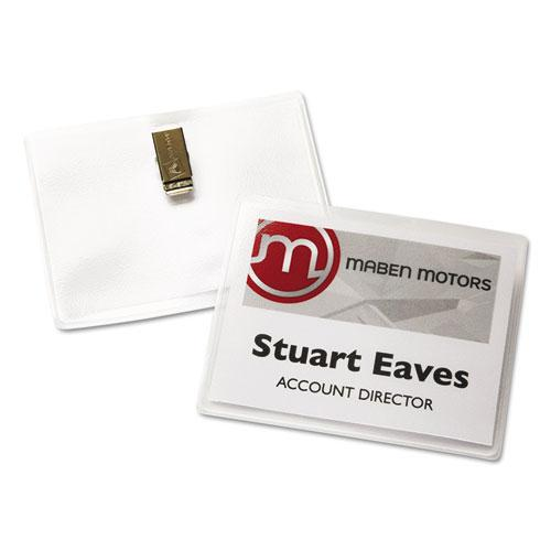 Clip-Style Name Badge Holder with Laser/Inkjet Insert, Top Load, 4 x 3, White, 40/Box. Picture 2