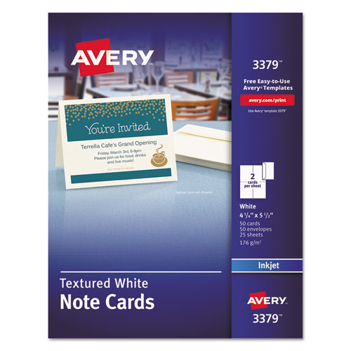 Textured Note Cards, Inkjet, 4 1/4 x 5 1/2, Uncoated White, 50/Bx w/Envelopes. Picture 1