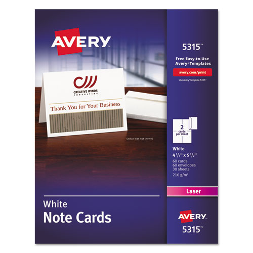 Note Cards, Laser Printer, 4 1/4 x 5 1/2, Uncoated White, 60/Pack with Envelopes. Picture 1