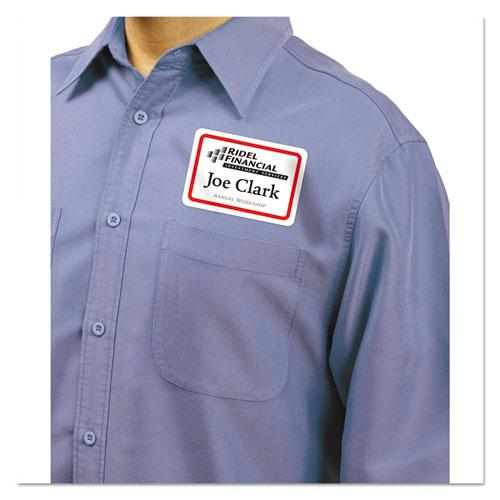 Flexible Adhesive Name Badge Labels, 3.38 x 2.33, White/Red Border, 400/Box. Picture 2