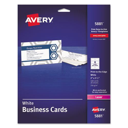 Print-to-the-Edge Microperforated Business Cards with Sure Feed Technology, Color Laser, 2 x 3.5, Wht, 160/Pk. Picture 1