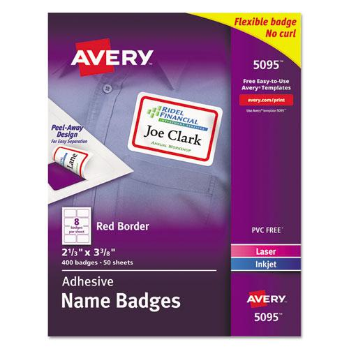 Flexible Adhesive Name Badge Labels, 3.38 x 2.33, White/Red Border, 400/Box. Picture 1