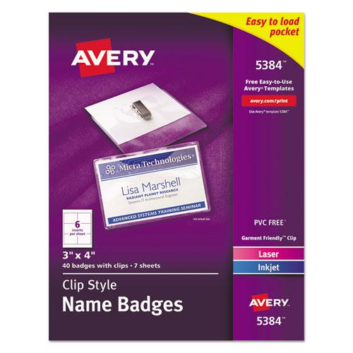 Clip-Style Name Badge Holder with Laser/Inkjet Insert, Top Load, 4 x 3, White, 40/Box. Picture 1