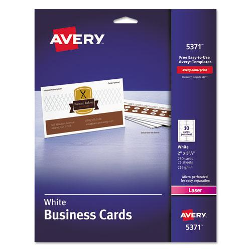 Printable Microperforated Business Cards with Sure Feed Technology, Laser, 2 x 3.5, White, Uncoated, 250/Pack. Picture 1