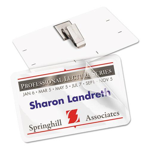 Self-Laminating Laser/Inkjet Printer Badges, 2 1/4 x 3 1/2, White, 30/Box. Picture 5