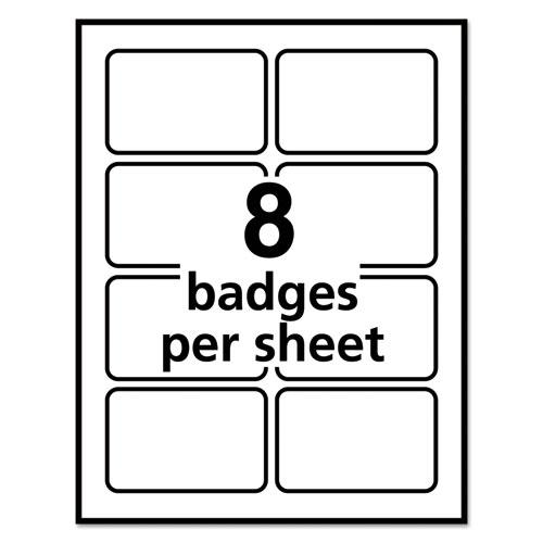 Flexible Adhesive Name Badge Labels, 3.38 x 2.33, White/Red Border, 400/Box. Picture 5