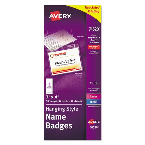 Necklace-Style Badge Holder w/Laser/Inkjet Insert, Top Load, 4 x 3, WE, 50/Box. Picture 1