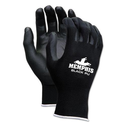Economy PU Coated Work Gloves, Black, X-Small, 1 Dozen. Picture 1