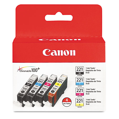 2946B004 (CLI-221) Ink, Black/Cyan/Magenta/Yellow, 4/Pack. Picture 1