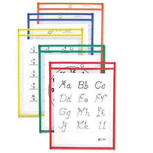 Reusable Dry Erase Pockets, 9 x 12, Assorted Primary Colors, 10/Pack. Picture 1