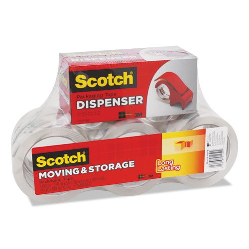 """Storage Tape with DP300 Dispenser, 3"""" Core, 1.88"""" x 54.6 yds, Clear, 6/Pack. Picture 2"""