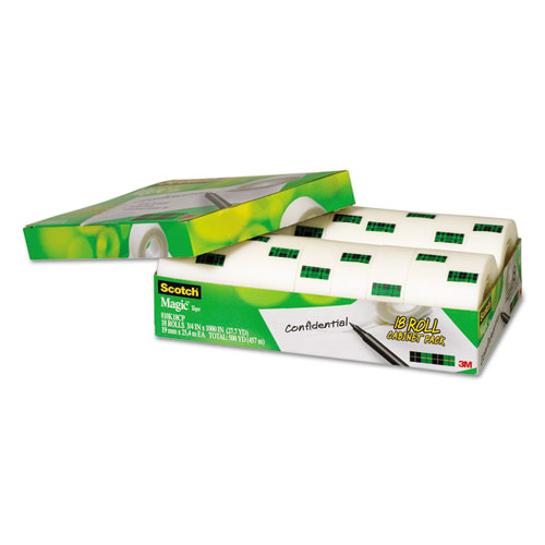 """Magic Tape Cabinet Pack, 1"""" Core, 0.75"""" x 83.33 ft, Clear, 18/Pack. Picture 3"""