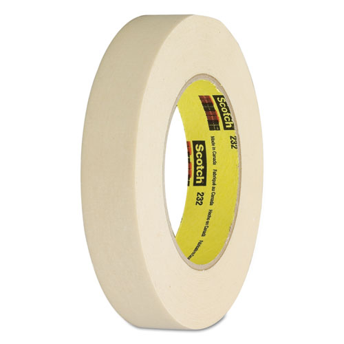 """High-Performance Masking Tape 232, 3"""" Core, 12 mm x 55 m, Tan. Picture 1"""