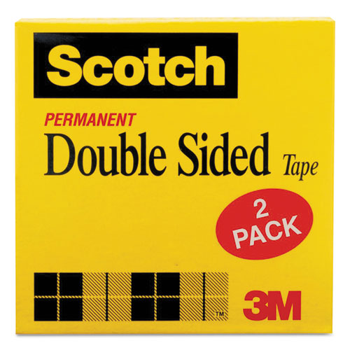 """Double-Sided Tape, 1"""" Core, 0.5"""" x 75 ft, Clear, 2/Pack. Picture 2"""