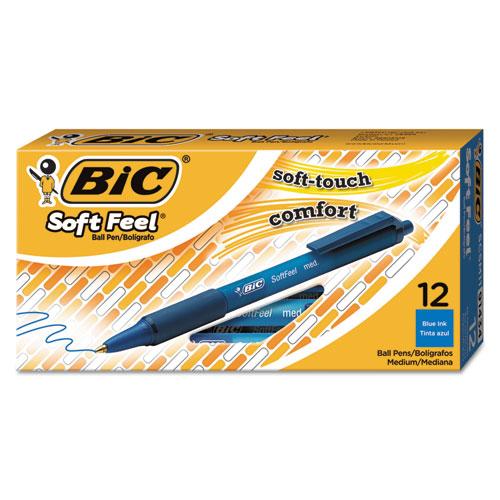 Soft Feel Retractable Ballpoint Pen, Medium 1mm, Blue Ink/Barrel, Dozen. Picture 1