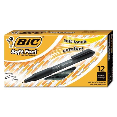 Soft Feel Ballpoint Pen, Retractable, Medium 1 mm, Black Ink, Black Barrel, Dozen. Picture 1