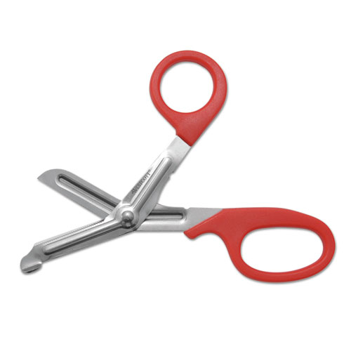 "Stainless Steel Office Snips, 7"" Long, 1.75"" Cut Length, Red Offset Handle. Picture 1"