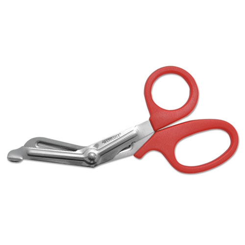 "Stainless Steel Office Snips, 7"" Long, 1.75"" Cut Length, Red Offset Handle. Picture 2"