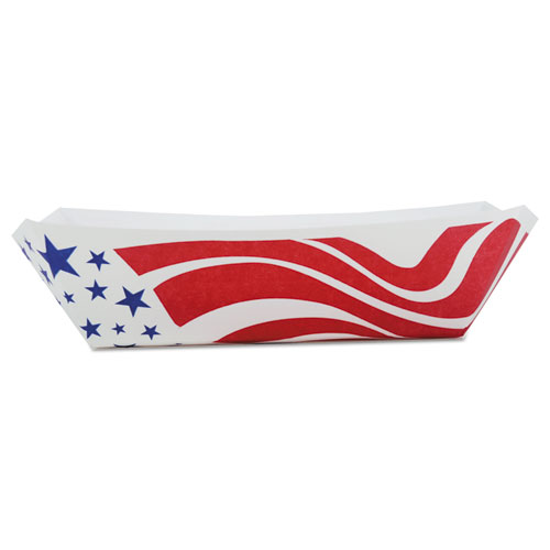 American Flag Paper Food Baskets, Red/White/Blue, 1 lb Capacity, 1000/Carton. Picture 1