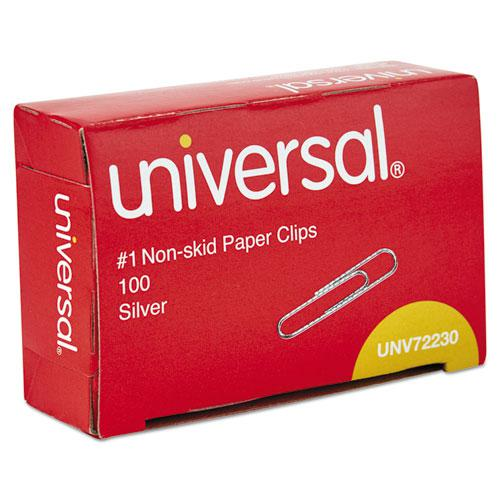 Paper Clips, Small (No. 1), Silver, 100 Clips/Box, 10 Boxes/Pack. Picture 1