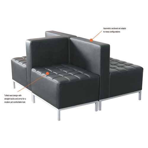 Alera QUB Series Powered Armless L Sectional, 26.38w x 26.38d x 30.5h, Black. Picture 9