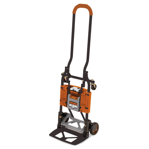 2-in-1 Multi-Position Hand Truck and Cart, 16.63 x 12.75 x 49.25, Gray/Orange. Picture 1