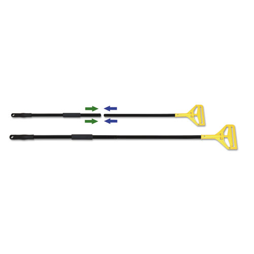 "Two-Piece Metal Handle with Plastic Quick Change Head, 62"" Handle, Black/Yellow. The main picture."