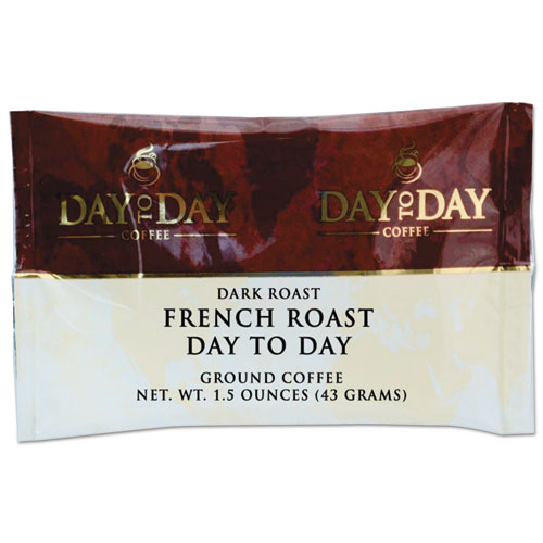 100% Pure Coffee, French Roast, 1.5 oz Pack, 42/Carton. Picture 1