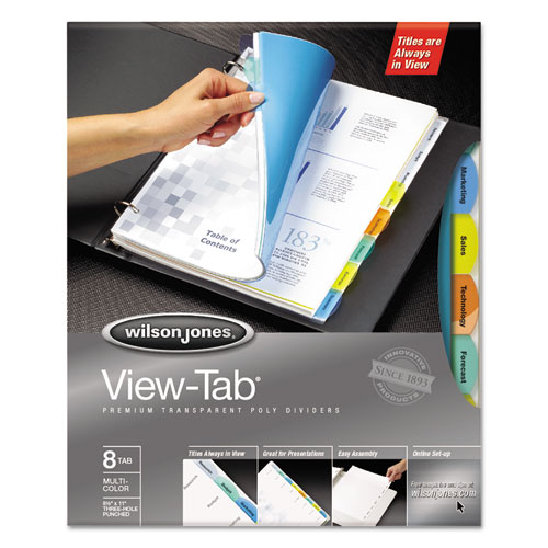 View-Tab Transparent Index Dividers, 8-Tab, 11 x 8.5, Assorted, 1 Set. Picture 1