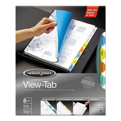 Round View-Tab Transparent Index Dividers, 8-Tab, 11 x 8.5, Assorted, 1 Set. Picture 1