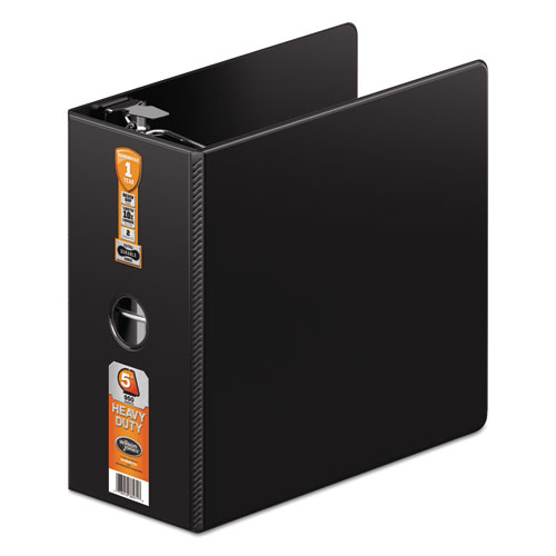 """Heavy-Duty D-Ring Binder with Extra-Durable Hinge, 3 Rings, 5"""" Capacity, 11 x 8.5, Black. Picture 1"""