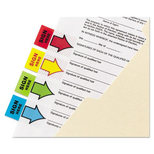 """Arrow Message 1"""" Page Flags,  200 """"Sign Here"""", 48 Arrow, Four Colors, 248/Pack. Picture 6"""