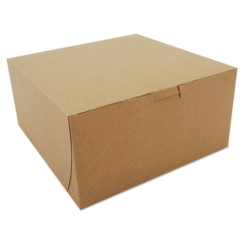 Bakery Boxes, Kraft, Paperboard, 8 x 8 x 4, 250/Carton. Picture 1