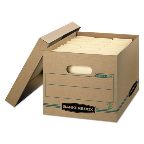"""STOR/FILE Basic-Duty Storage Boxes, Letter/Legal Files, 12.5"""" x 16.25"""" x 10.5"""", Kraft/Green, 12/Carton. Picture 1"""