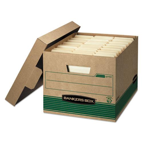 """STOR/FILE Medium-Duty 100% Recycled Storage Boxes, Letter/Legal Files, 12.5"""" x 16.25"""" x 10.25"""", Kraft/Green, 12/Carton. Picture 1"""