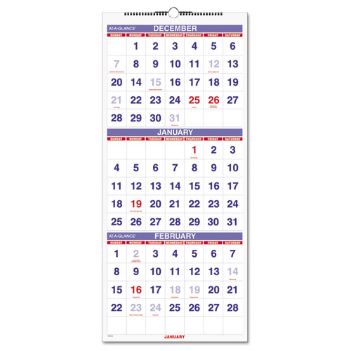 Vertical Format Three Month Reference Wall Calendar 12 1