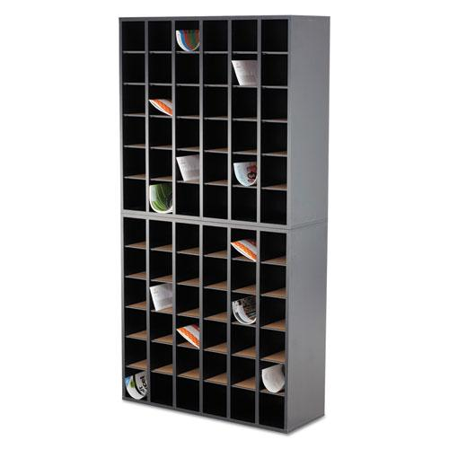 Wood Mail Sorter with Adjustable Dividers, Stackable, 36 Compartments, Black. Picture 3