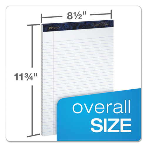 Gold Fibre Writing Pads, Wide/Legal Rule, 8.5 x 11.75, White, 50 Sheets, 4/Pack. Picture 2