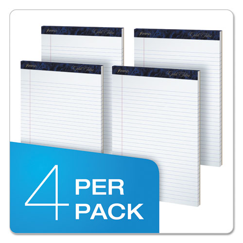 Gold Fibre Writing Pads, Wide/Legal Rule, 8.5 x 11.75, White, 50 Sheets, 4/Pack. Picture 5