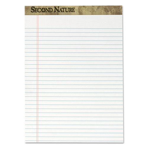 Second Nature Recycled Pads, Wide/Legal Rule, 8.5 x 11.75, White, 50 Sheets, Dozen. Picture 1