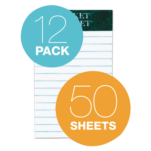 Docket Ruled Perforated Pads, Medium/College Rule, 3 x 5, White, 50 Sheets, 12/Pack. Picture 4