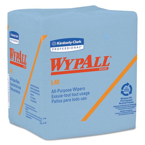 L40 Wiper, 1/4 Fold, Blue, 12 1/2 x 12, 56/Box, 12 Boxes/Carton. Picture 1