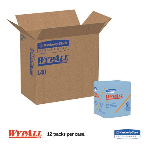 L40 Wiper, 1/4 Fold, Blue, 12 1/2 x 12, 56/Box, 12 Boxes/Carton. Picture 2