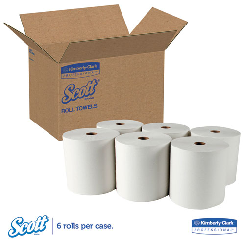 """Essential High Capacity Hard Roll Towel, 1.5"""" Core, 8 x 1000 ft, Recycled, White, 6/Carton. Picture 6"""