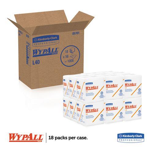 L40 Towels, 1/4 Fold, White, 12 1/2 x 12, 56/Box, 18 Packs/Carton. Picture 2