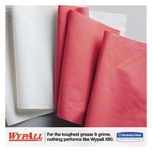 X80 Cloths, HYDROKNIT, Jumbo Roll, 12 1/2 x 13 2/5, Red, 475 Wipers/Roll. Picture 2