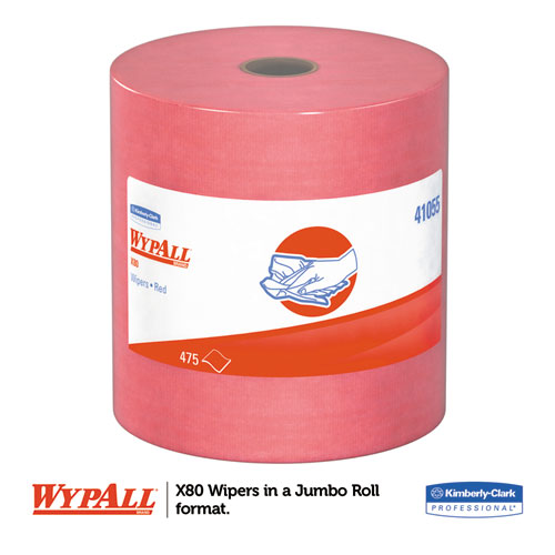 X80 Cloths, HYDROKNIT, Jumbo Roll, 12 1/2 x 13 2/5, Red, 475 Wipers/Roll. Picture 4